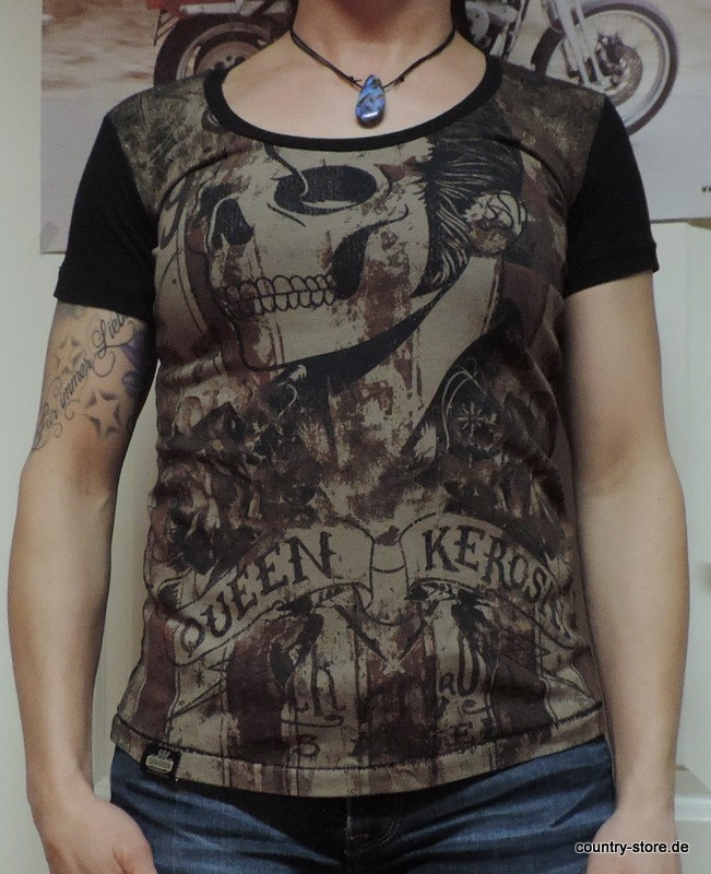 T-Shirt Queen Kerosin Rock´n Roll Skull black