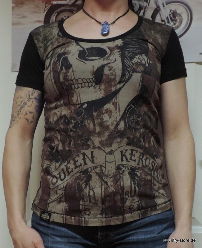 T-Shirt Queen Kerosin Rock´n Roll Skull black