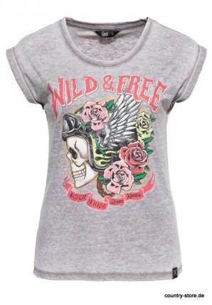 Roll-Up T-Shirt Enzymwash mit Print »Wild Free«
