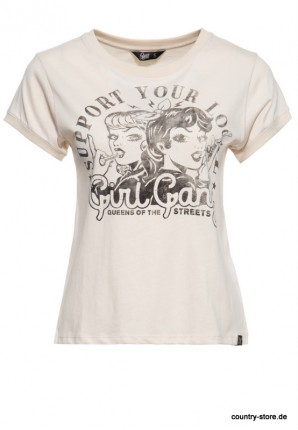 Wide Fit T-Shirt mit Vintage Frontprint »Girl Gang«