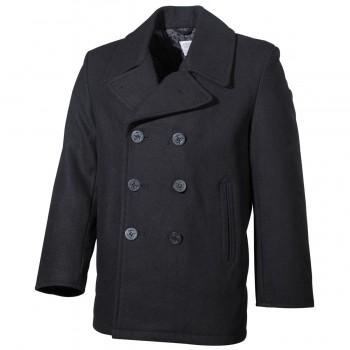 US Pea Coat, schwarz, mit schwarzen Knöpfen